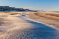 Een zandduin op een strand met het zand die rond door de wind worden geblazen Royalty-vrije Stock Afbeeldingen
