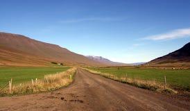 Een zandweg tussen landbouwbedrijven en heuvels in IJsland royalty-vrije stock foto's
