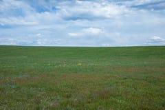 Een zeer bewolkte hemel over een groen weiland Royalty-vrije Stock Fotografie
