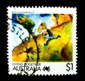 Een zegel in Australië wordt gedrukt toont een beeld van redding & noodsituatie in zegelreeks van het leven samen op waarde bij 1 stock afbeelding