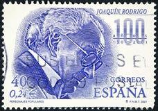 Een zegel in Spanje wordt gedrukt toont Joaquin Rodrigo dat Royalty-vrije Stock Afbeeldingen