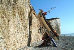 Een zeldzame foto van de beroemde ladder-gelanceerde boot in Birling Gap stock foto