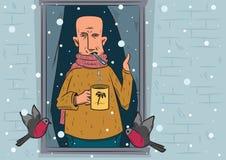 Een zieke mens bevindt zich dichtbij een venster en bekijkt de sneeuwval De illustratie van de winter Eps 10 Stock Foto's