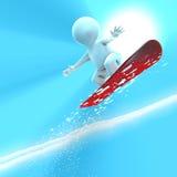 Een zilveren snowboarder springt zeer hoog Royalty-vrije Stock Foto