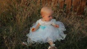 Een zitting van het babymeisje in het hoge gras in een witte kleding en het eten van een abrikoos Zonsondergang in de zomer stock footage