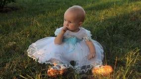 Een zitting van het babymeisje op het gras in een witte kleding, onderzoekend de camera en zet grassprietje in de mond stock video