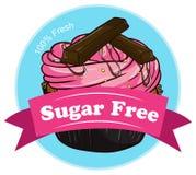 Een zoete cupcake met een suiker vrij etiket stock illustratie