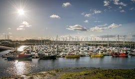 Een zon met sterstralen die over een haven van zeilboten glanzen royalty-vrije stock afbeeldingen