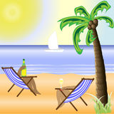 Een zonnig strand met een heldere zon en een mooie palm Vector Illustratie