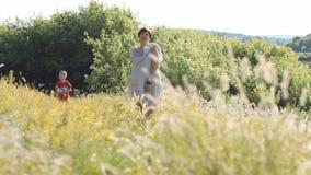 Een zonnige dag in de zomer in een dorp - een vrouw met een kind die op een weide rusten stock video