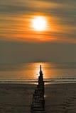 Een zonnige dag met zeemeeuwen op de golfbrekers bij het strand in de herfst Stock Foto