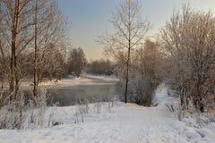 Een zonnige de winterdag Heilige-Petersburg Visserij Royalty-vrije Stock Foto