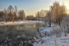 Een zonnige de winterdag Heilige-Petersburg Visserij Stock Foto's