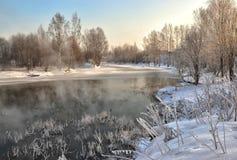 Een zonnige de winterdag Heilige-Petersburg Visserij Stock Afbeeldingen