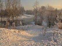 Een zonnige de winterdag Heilige-Petersburg Visserij Stock Fotografie