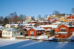 Een zonnige Februari-dag in Porvoo finland royalty-vrije stock afbeeldingen