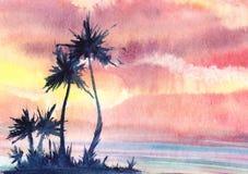 Een zonsondergang of dageraad tropisch landschap met een klein eiland met vriend stock illustratie