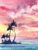 Een zonsondergang of dageraad tropisch landschap met een klein eiland met vriend vector illustratie