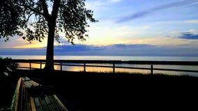 Een zonsondergang in Oswego stock afbeelding