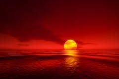 Een zonsondergang over het overzees royalty-vrije illustratie