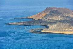 Een zuidendeel van Graciosa-Eiland, Canarische Eilanden, Spanje royalty-vrije stock fotografie