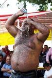 Een zwaargewicht worstelaar bij het de Olie van Velimese Turkse het Worstelen Festival, Turkije royalty-vrije stock foto's