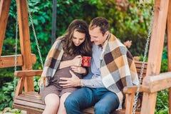 Een zwangere jonge vrouw en haar echtgenoot Een gelukkige familiezitting op een schommeling, holdingsbuik Het zwangere vrouw onts Royalty-vrije Stock Foto