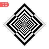 Een zwart-witte hulptunnel Optische illusie Vector illustratie Zwart-witte vierkanten Eps 10 stock illustratie