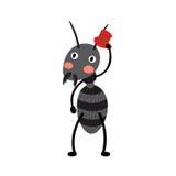 Een zwarte mier met rode hoed Stock Afbeeldingen