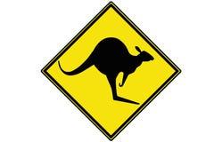 Een zwarte op geel Kangoeroewaarschuwingsbord royalty-vrije stock foto's