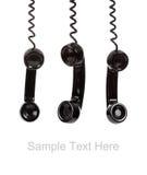Een zwarte telefoonontvanger op wit met exemplaar Royalty-vrije Stock Foto's
