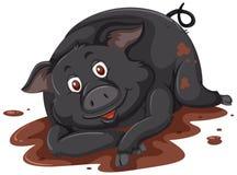 Een zwarte varken het spelen modder royalty-vrije illustratie