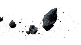 Een zwerm van asteroïden op witte 3d illustratie worden geïsoleerd die als achtergrond stock illustratie