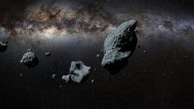 Een zwerm van asteroïden voor de Melkwegmelkweg stock illustratie