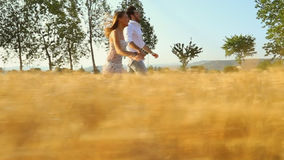 Eenage girlfriend and boyfriend having fun and running outdoors. A couple in love in the middle of nature holding hands smiling in sunset light in a wheat field stock footage
