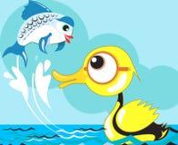Eend en vissen Royalty-vrije Stock Afbeelding