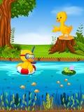Eend twee en kikker in de rivier stock illustratie