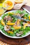 Eendborst en oranje salade Stock Foto