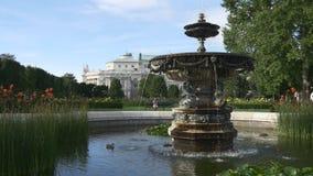 Eenden in fontein dichtbij vrouw het spreken telefonisch stock footage