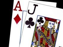 Eenentwintig in Blackjack Stock Afbeeldingen