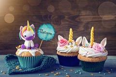 Eenhoorn cupcakes Stock Fotografie