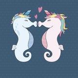 Eenhoorn die seahorses met hart vectorillustratie kussen royalty-vrije illustratie