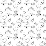 Eenhoorn kleurende pagina met snoepjes voor jonge geitjes royalty-vrije illustratie