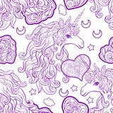 Eenhoorn met multicolored manen, vlinderregenboog, ster en liefde vector illustratie