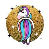 Eenhoorn van het fantasie de dierlijke paard Vlak stijlontwerp royalty-vrije illustratie