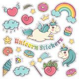 Eenhoorn zoete reeks stickers, spelden, flarden in beeldverhaal kleurrijke grappige stijl Royalty-vrije Stock Afbeeldingen