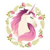 Eenhoornhoofd in kroon van bloemen De illustratie van de waterverf royalty-vrije illustratie