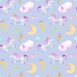 Eenhoorns, maan, bloemenpatroon royalty-vrije illustratie