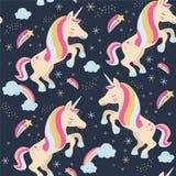 Eenhoorns met sterren en regenboog royalty-vrije illustratie