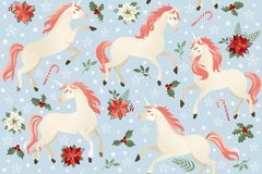 Eenhoorns op een Kerstmis bloemenachtergrond Naadloos patroon stock foto